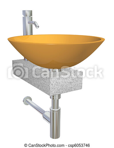 Orange bowl glass or ceramic sink with chrome faucet and plumbing fixtures, sitting on a granite table or slab, isolated against a white background - csp6053746