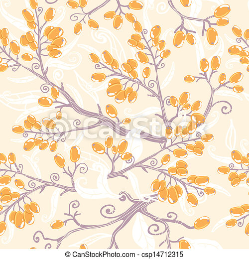 Orange buckthorn berries seamless pattern background - csp14712315