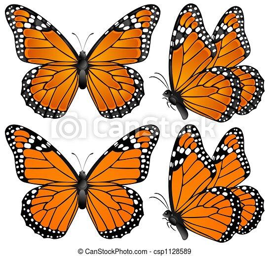 Orange Butterfly Illustration Of Four Orange Butterflies
