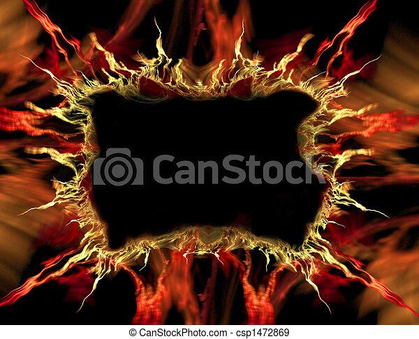 orange, cadre, flamme, rouges - csp1472869
