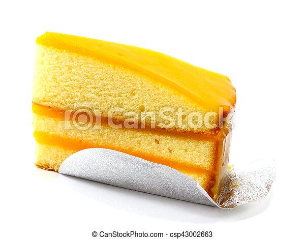 orange cake on white background - csp43002663
