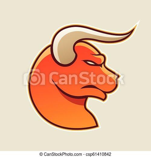 Orange Cartoon Bull Icon Vector Illustration - csp61410842