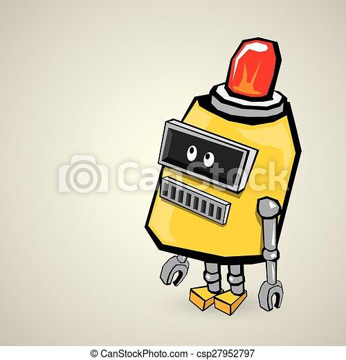 orange Cartoon doodle Robot - csp27952797