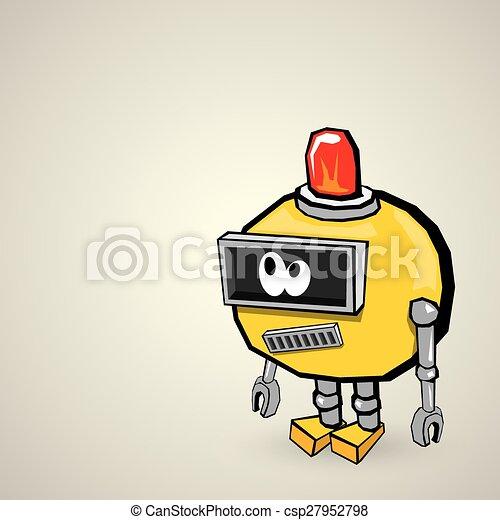 orange Cartoon doodle Robot - csp27952798