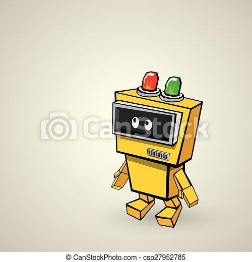 orange Cartoon doodle Robot - csp27952785