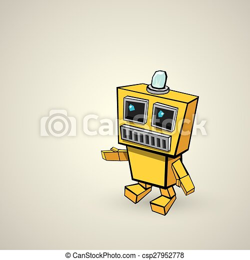 orange Cartoon doodle Robot - csp27952778