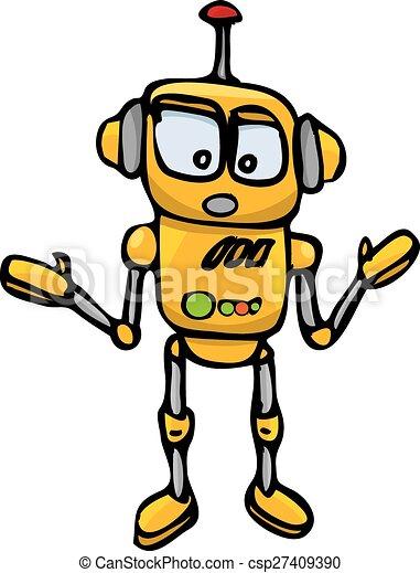 orange Cartoon doodle Robot on white - csp27409390