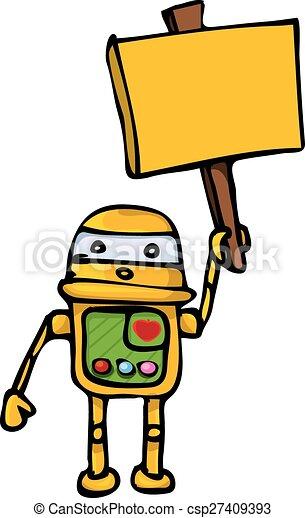 orange Cartoon doodle Robot on white - csp27409393