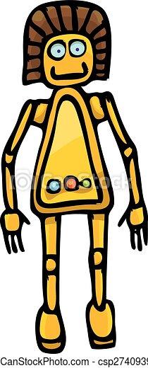 orange Cartoon doodle Robot on white - csp27409394