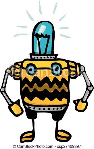 orange Cartoon doodle Robot on white - csp27409397