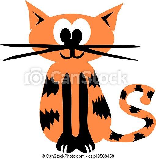 Orange cartoon tiger cat - csp43568458