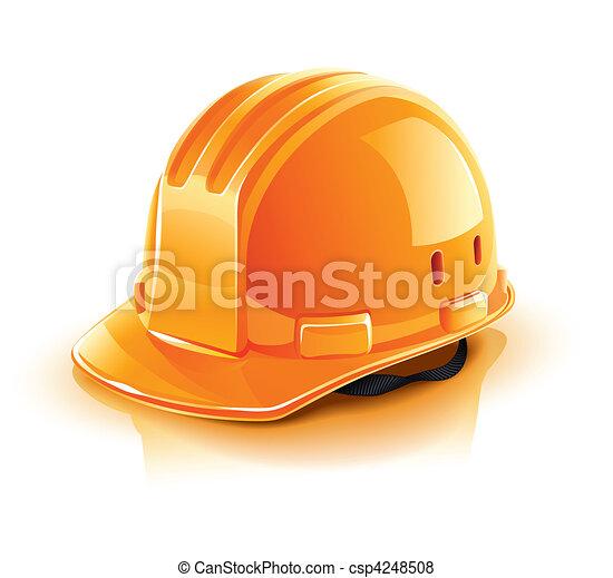 orange, casque, constructeur, ouvrier - csp4248508