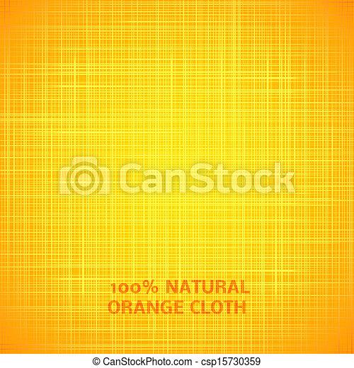 Orange cloth texture background. Vector illustration - csp15730359