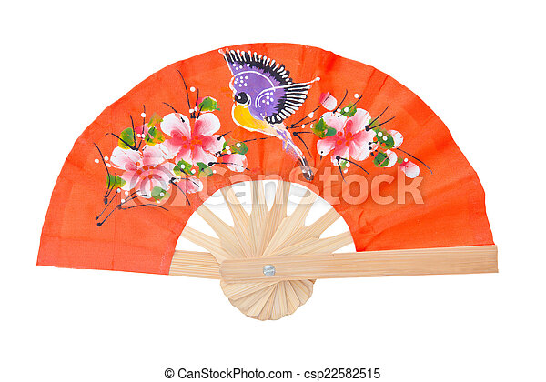 orange color fan isolated on white background. - csp22582515