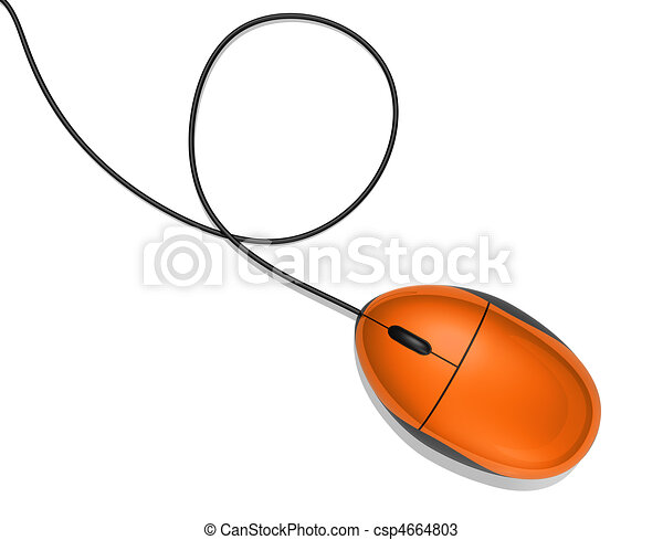 orange computer mouse - csp4664803