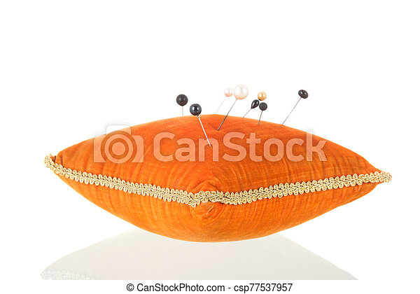 orange, coussin, épingle - csp77537957