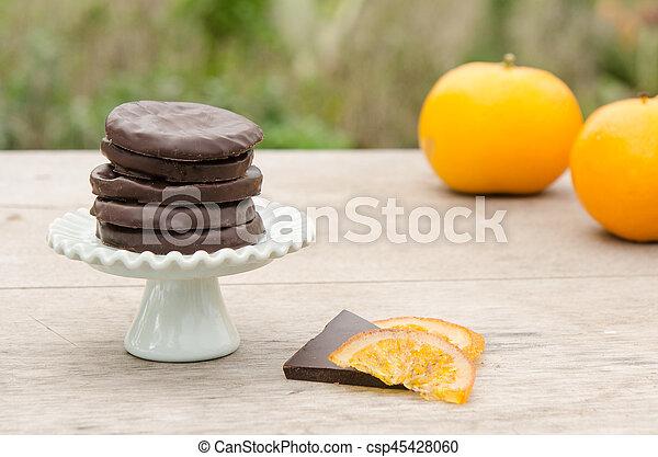 orange, couvert, chocolat, confit, tranches - csp45428060
