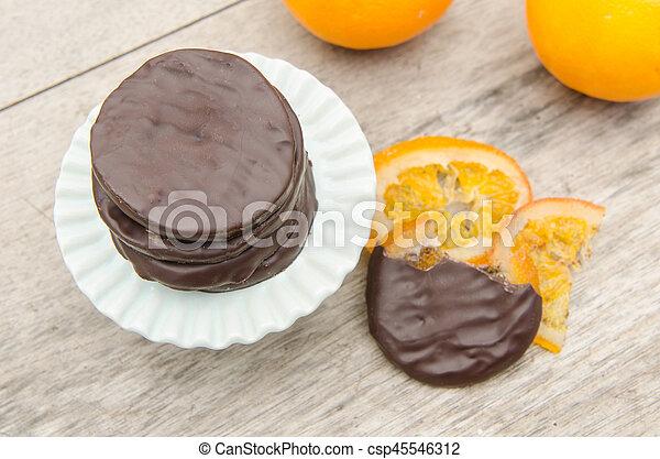orange, couvert, chocolat, confit, tranches - csp45546312