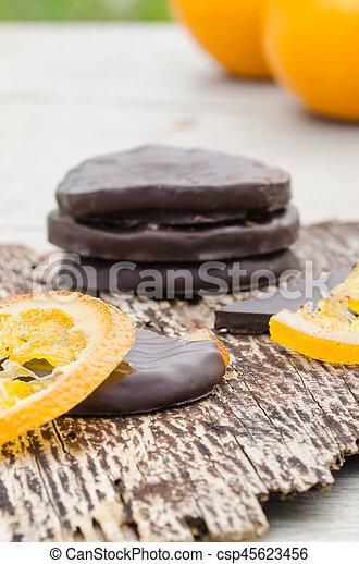 orange, couvert, chocolat, confit, tranches - csp45623456