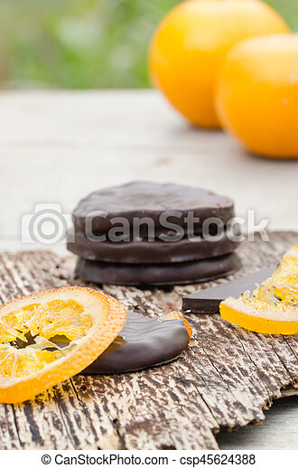 orange, couvert, chocolat, confit, tranches - csp45624388