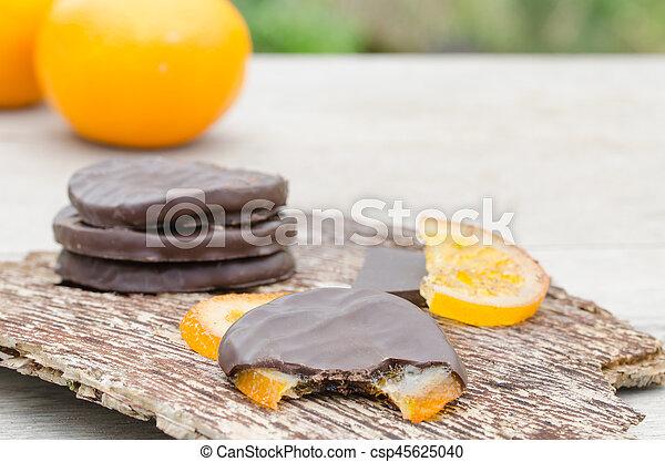 orange, couvert, chocolat, confit, tranches - csp45625040