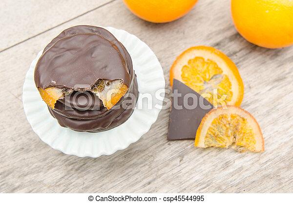 orange, couvert, chocolat, confit, tranches - csp45544995