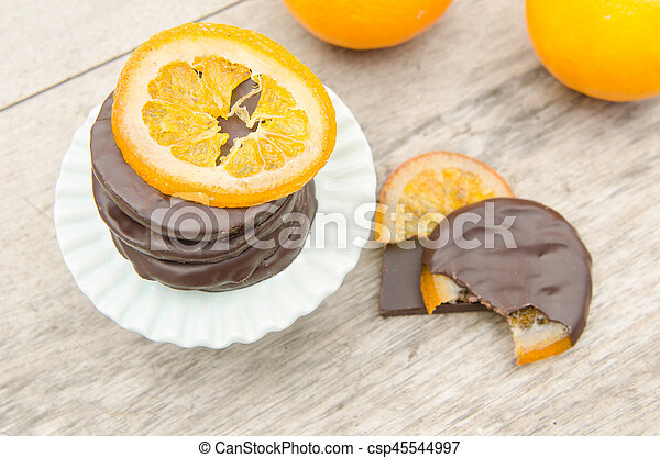 orange, couvert, chocolat, confit, tranches - csp45544997
