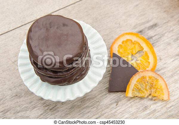 orange, couvert, chocolat, confit, tranches - csp45453230