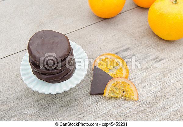 orange, couvert, chocolat, confit, tranches - csp45453231