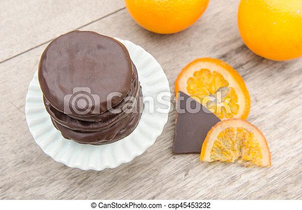 orange, couvert, chocolat, confit, tranches - csp45453232