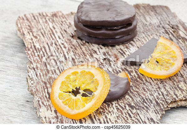 orange, couvert, chocolat, confit, tranches - csp45625039
