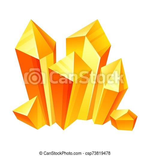 Orange crystals. Vector illustration on a white background. - csp73819478