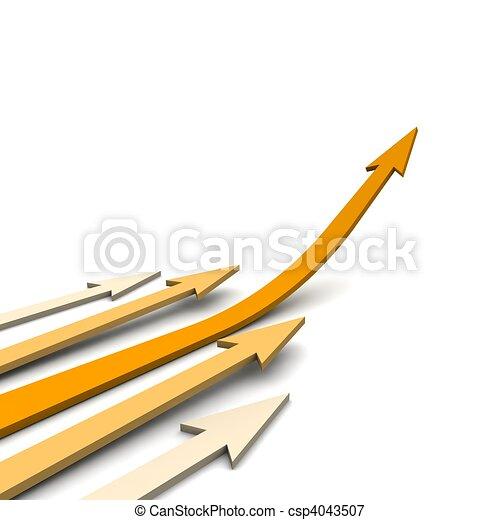 Orange curved arrows. 3d rendered illustration. - csp4043507