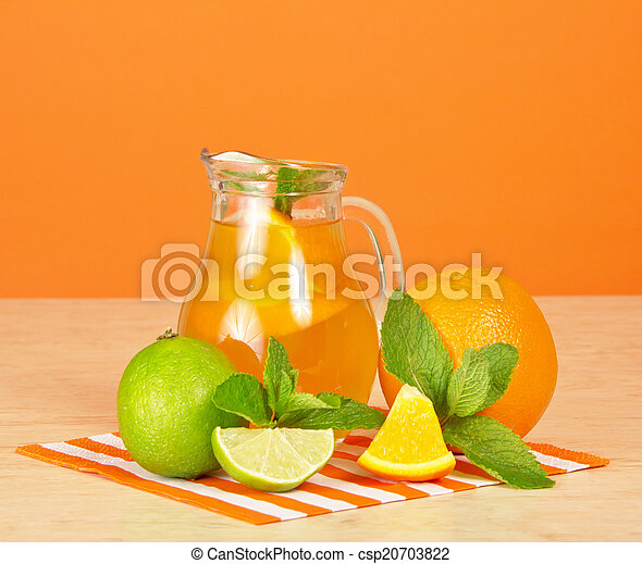 Orange drink, citrus, mint and striped - csp20703822