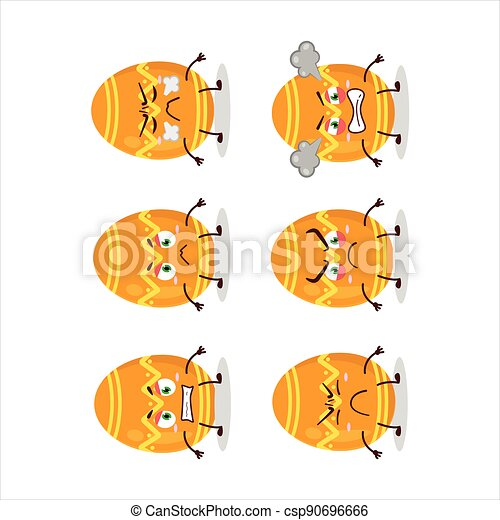 Orange easter egg cartoon character with various angry expressions - csp90696666