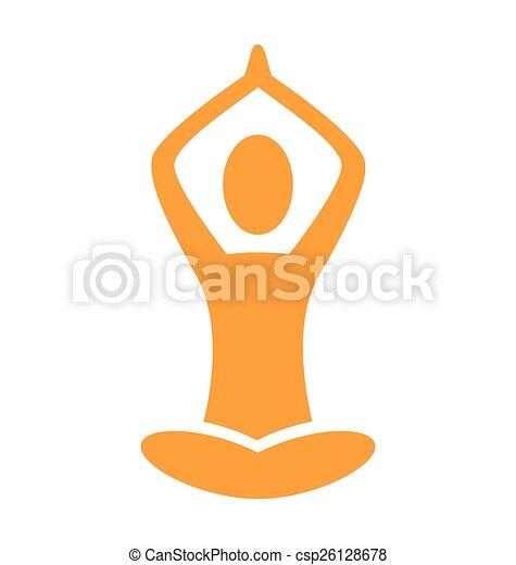 Orange emblem Yoga pose isolated on white - csp26128678