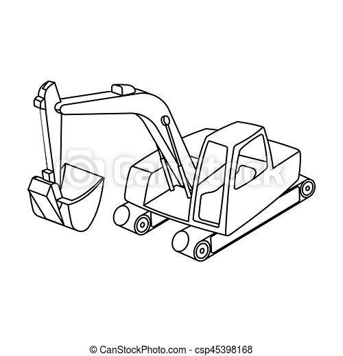 Orange Excavator With A Bucket Machine For Minemine Industry Single Icon In Outline Style Vector