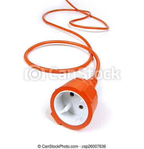 orange extension cord on white background - csp26007636