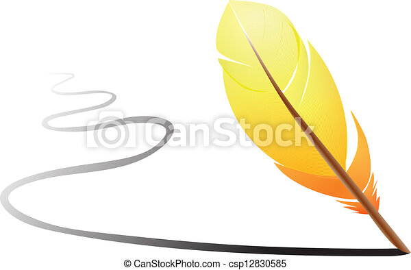 Orange feather writing on white - csp12830585