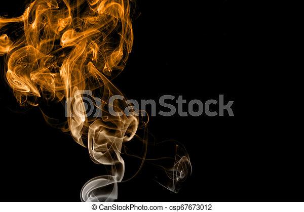 Orange Fire Smoke On Black Background