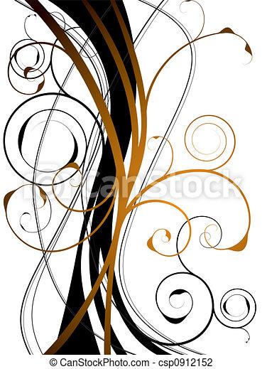 orange floral swirl - csp0912152