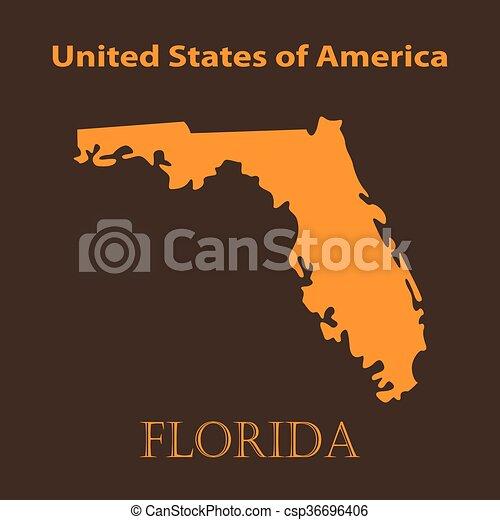 Orange Florida map - vector illustration. - csp36696406