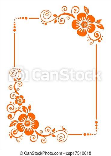 Orange Flower Border Orange Frame From Decorative Flowers