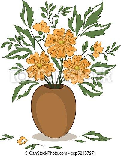 Orange Flowers In A Vase Bouquet Of Orange Flowers And Vectors