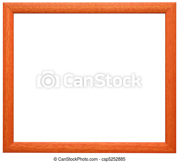 Orange frame cutout. Simple orange wooden frame isolated with two ...