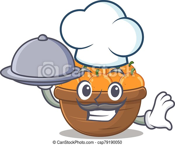 Orange fruit basket as a chef cartoon character with food on tray - csp79190050