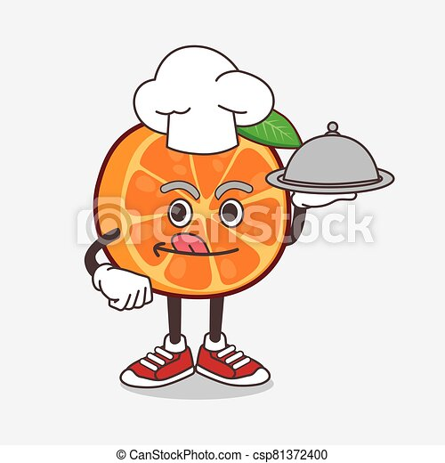 Orange Fruit cartoon mascot character as a Chef with food on tray ready to serve - csp81372400