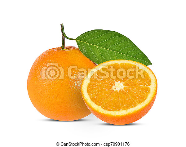 Orange fruit isolated on white background - csp70901176