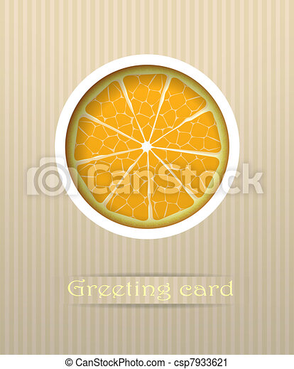 Orange fruit postcard vector illustration - csp7933621