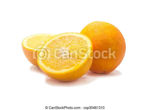 Orange fruit sliced isolated, Clipping path - csp30461310